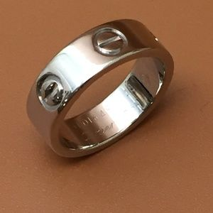 Cartier White Gold 18k 750 Love Band Ring Size 48